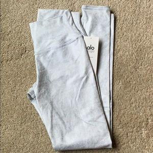 High waist airbrush leggings metallic/white
